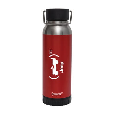 (PRODUCT)RED 22oz. Stainless Steel Bottle with Wireless Charger and Power Bank